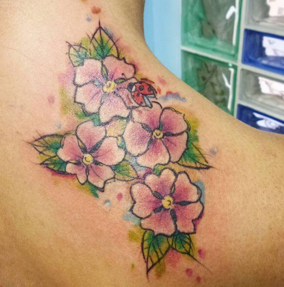 Watercolor Flower Tattoos On Neck Back