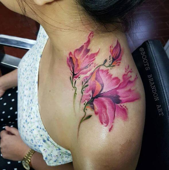 Watercolor Flower Tattoos On Shoulder