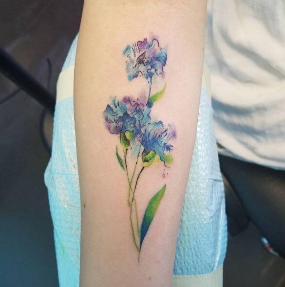 Watercolor Flower Tattoos On Sleeve