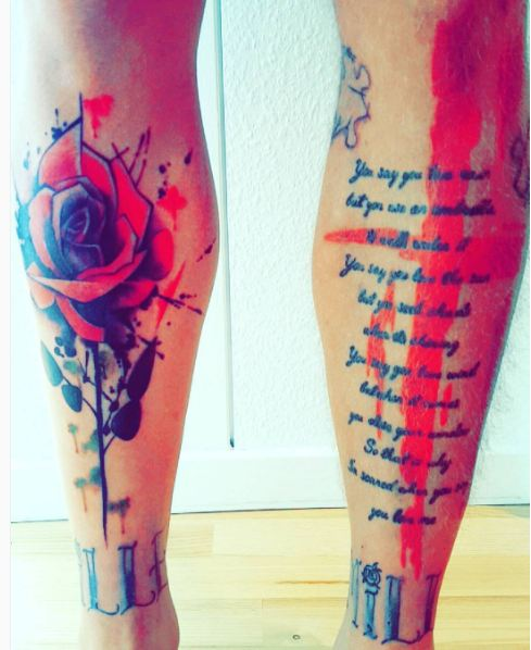 Watercolor Full Body Tattoos On Leg