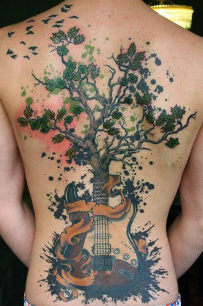 Watercolor Guitar Tattoo