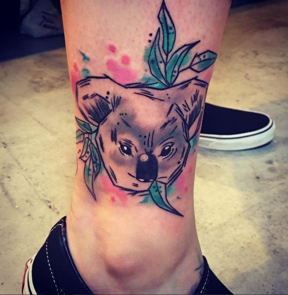 Watercolor Leg Tattoos