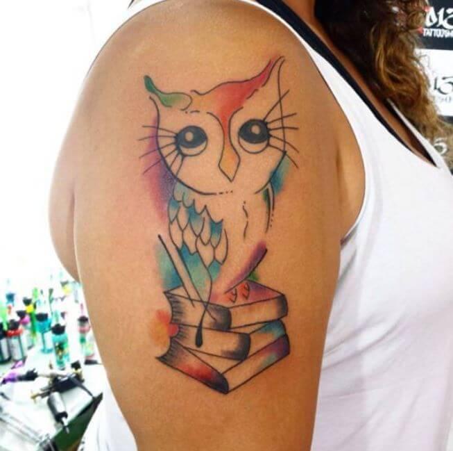 Watercolor Owl Tattoos