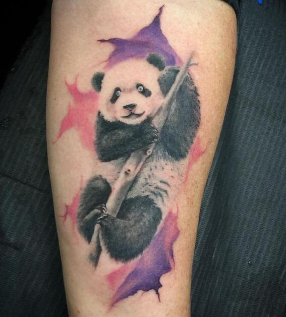Watercolor Panda Tattoo