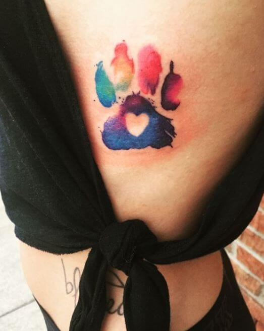 Watercolor Paw Print Tattoo