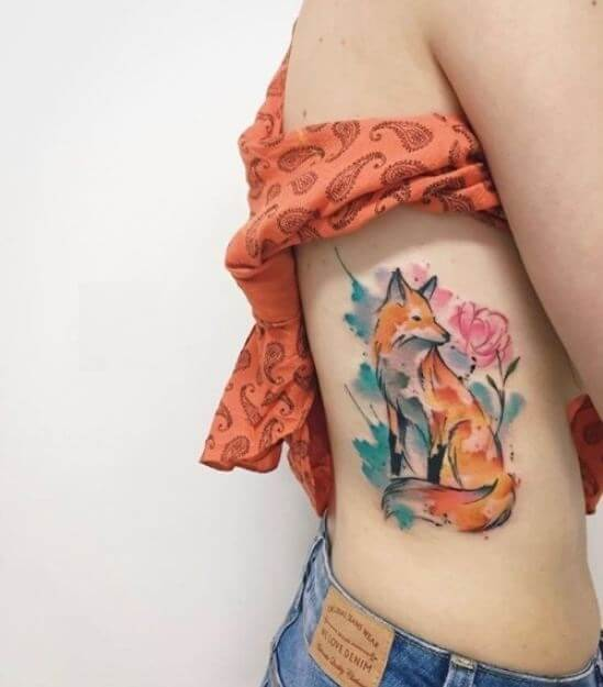 Watercolor Rib Tattoos