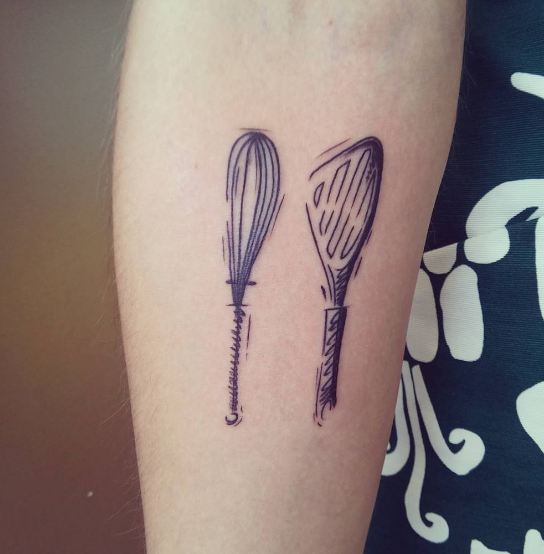 Whisk And Spatula Sketch Style Tattoos