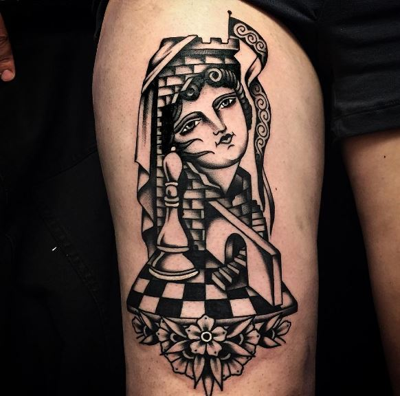 3D Chess Queen Tattoos Design And Ideas