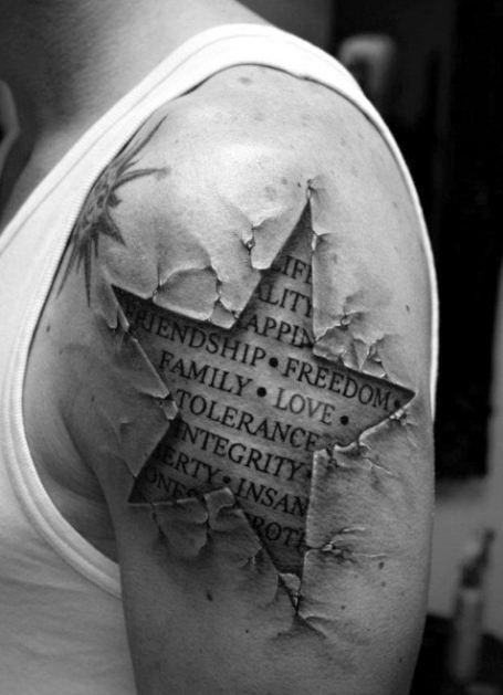 3d Star Half Sleeve Tattoos