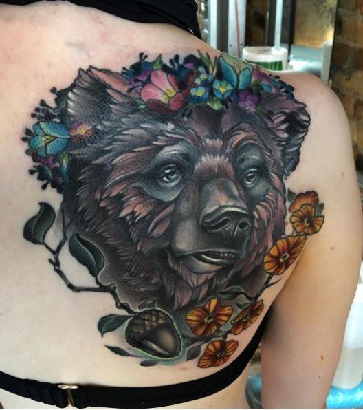 Amazing Black Bear Tattoos Design On Women Upper Backside