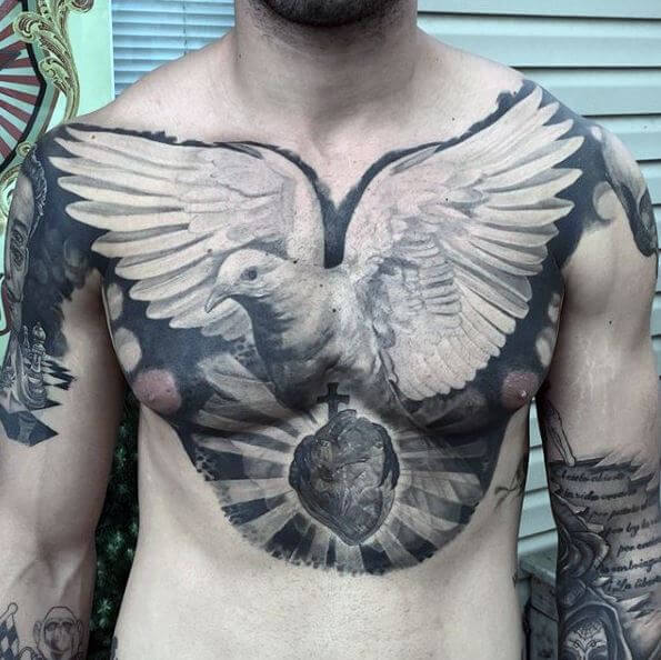 Awesome Dove Tattoos On Chest