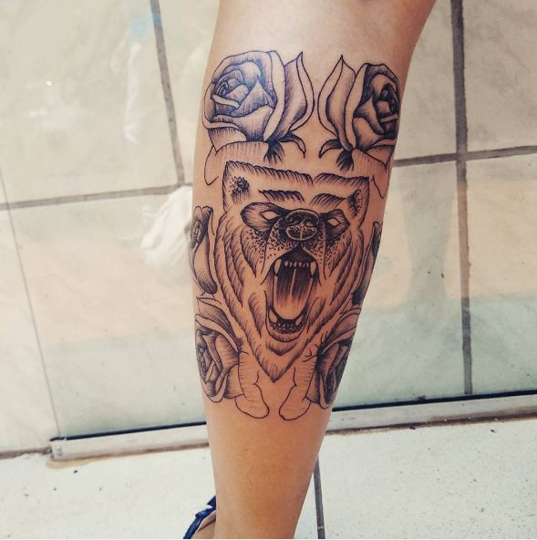 Bear Tattoos Design On Calf