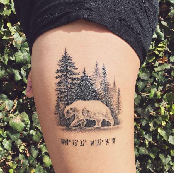Bear Tattoos Design On Legs