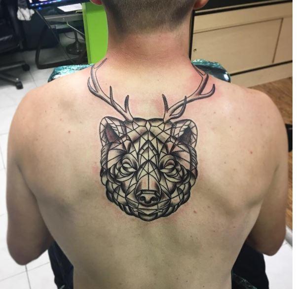 Bear Tattoos Design On Men Upper Backside