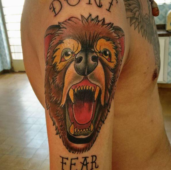 Bear Tattoos On Biceps