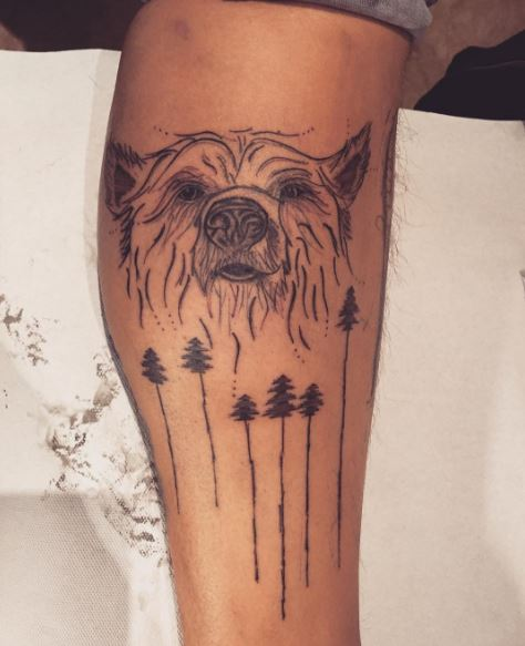Bear And Forest Tattoos Design On Legs