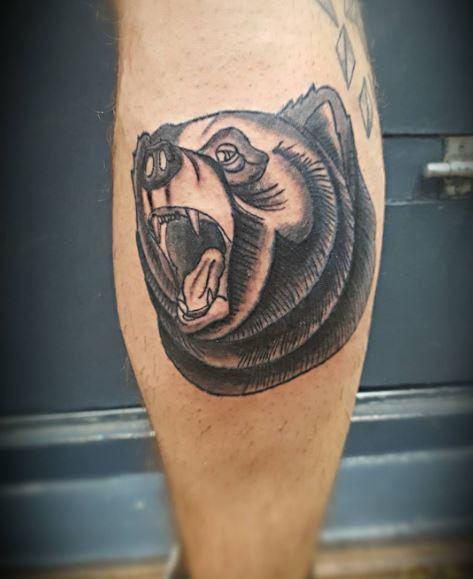 Beautiful Bear Tattoos On Calf