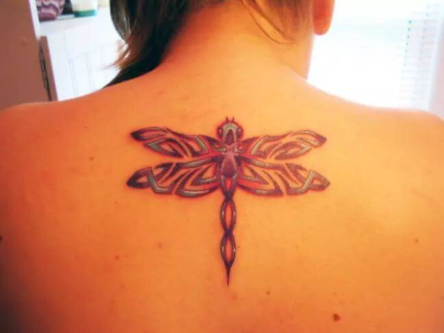 Beautiful Dragonfly Tattoos Design On Upper Back Side