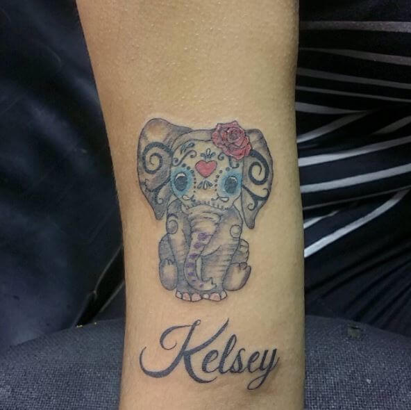 Beautiful Name Tattoo With Elephant