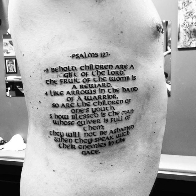 Bible Tattoo Design On Ribs