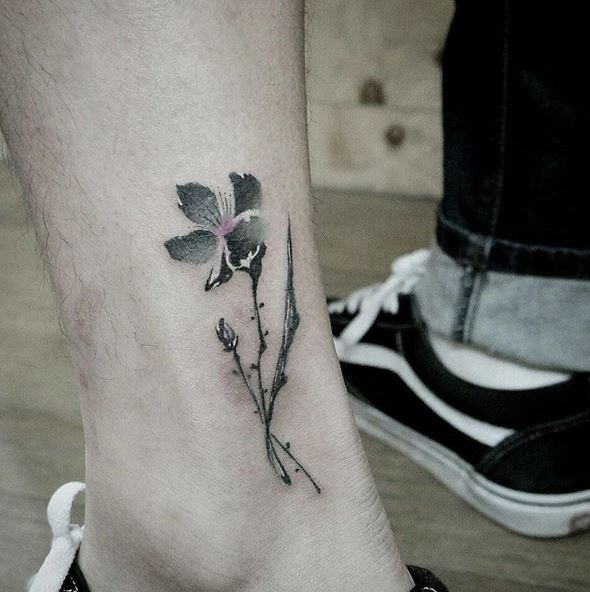 Black Color Flower Tattoos Design And Ideas