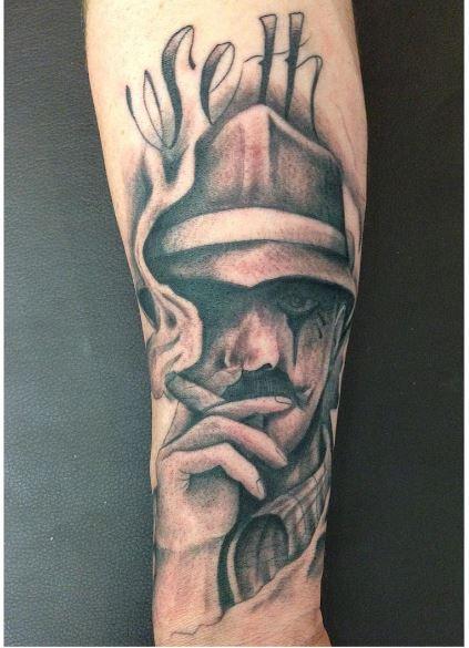 Black And Gray Color Gangsta Tattoos Design