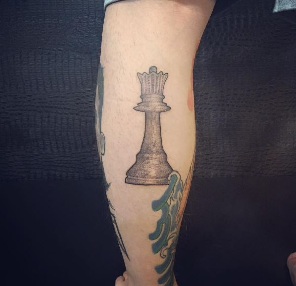 Brown Color Chess Tattoos Design On Calf