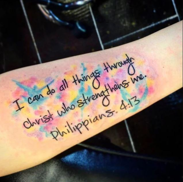 Colored Write Bible Quote Tattoo Design On Hand