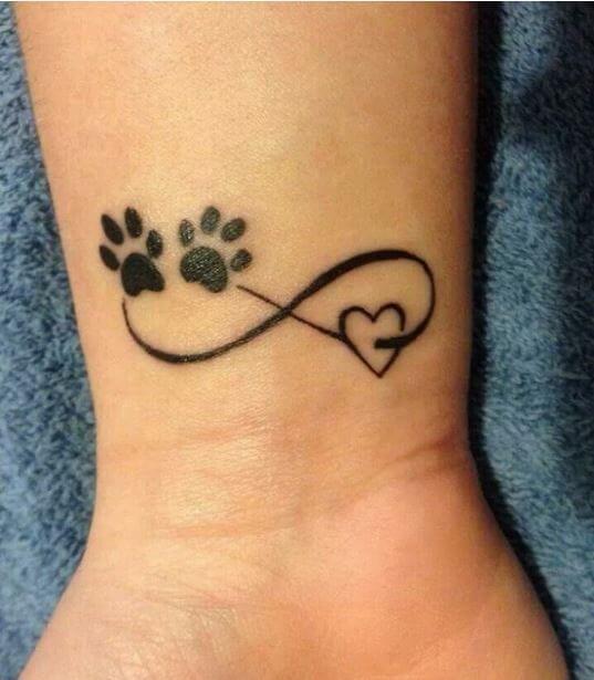 Cute Pawprints On Heart Infinity Tattoo Idea