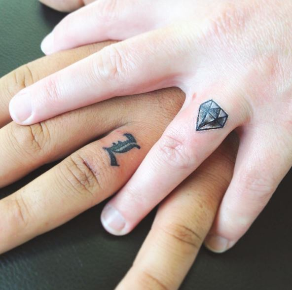 Diamond Wedding Ring Tattoos Design And Ideas