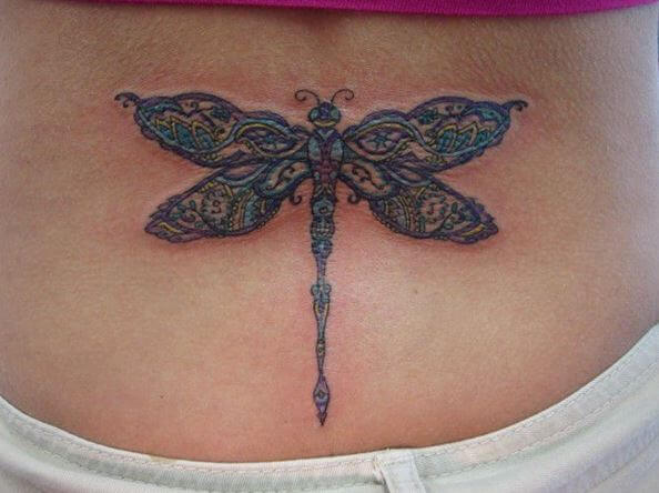 Dragonfly Tattoos Design On Lower Back Side