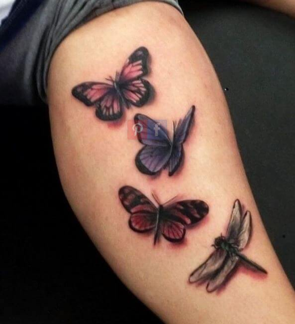 Dragonfly And Butterfly Tattoos On Calf
