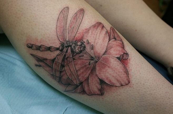 Dragonfly And Flower Tattoos Design On Legs