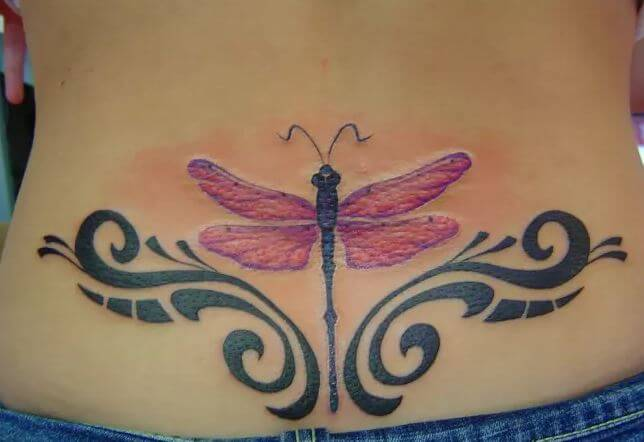 Dragonfly Tattoos Design On Lower Back Side For Girls