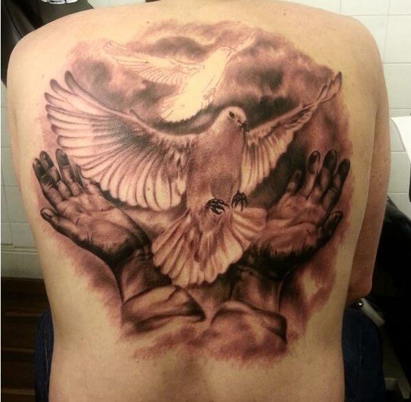 Full Back Dove Tattoos Design For Men