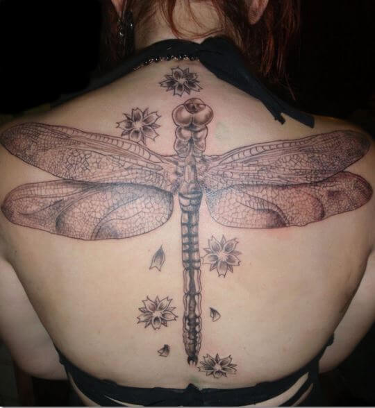 Full Back Dragonfly Tattoos For Women