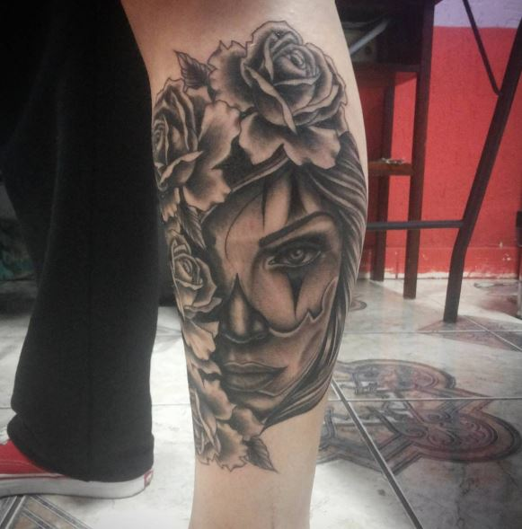Gangsta Tattoos Design On Calf