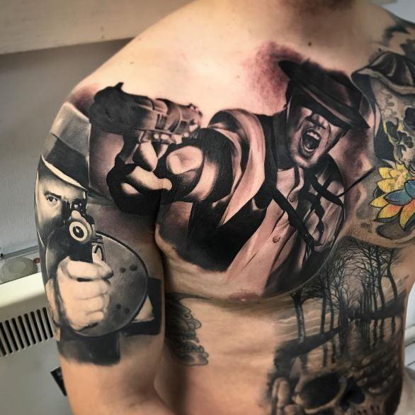 Gangsta Tattoos Design On Chest