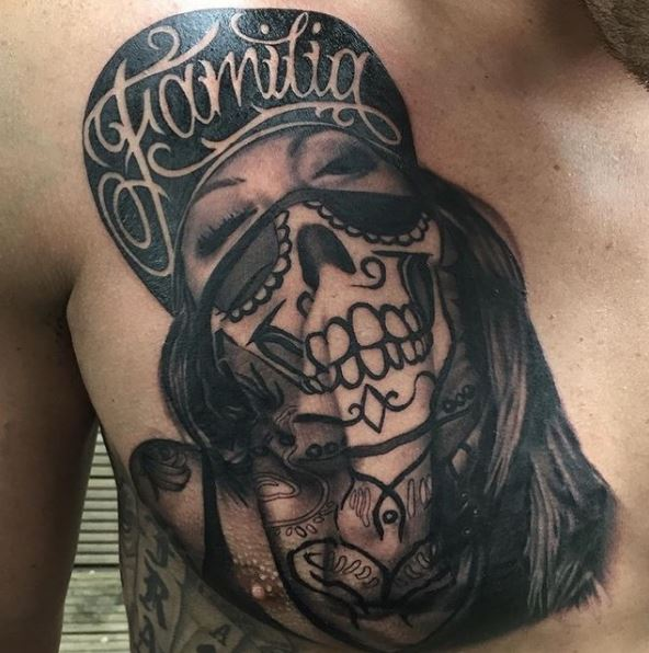 Gangsta Tattoos Designa On Chest