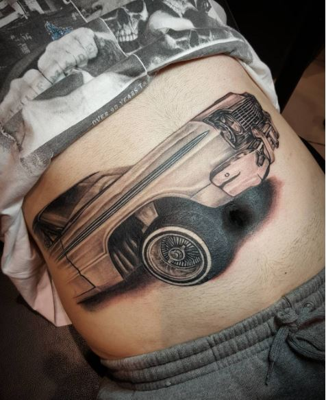 Gangster Car Tattoos Design On Stomach
