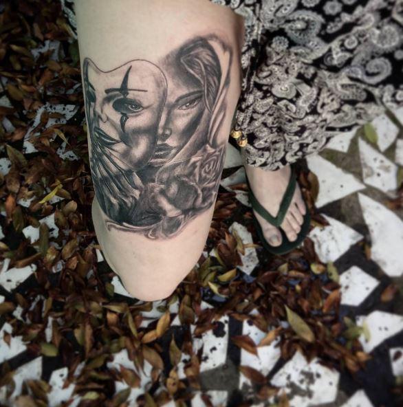 Gangster Tattoos Design On Thigh