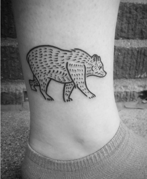 Glamorous Bear Tattoos Design On Legs