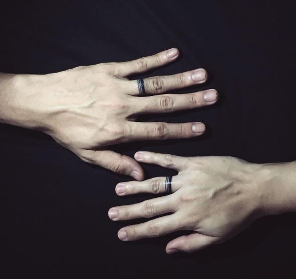 Infinite Line Wedding Ring Tattoos Design