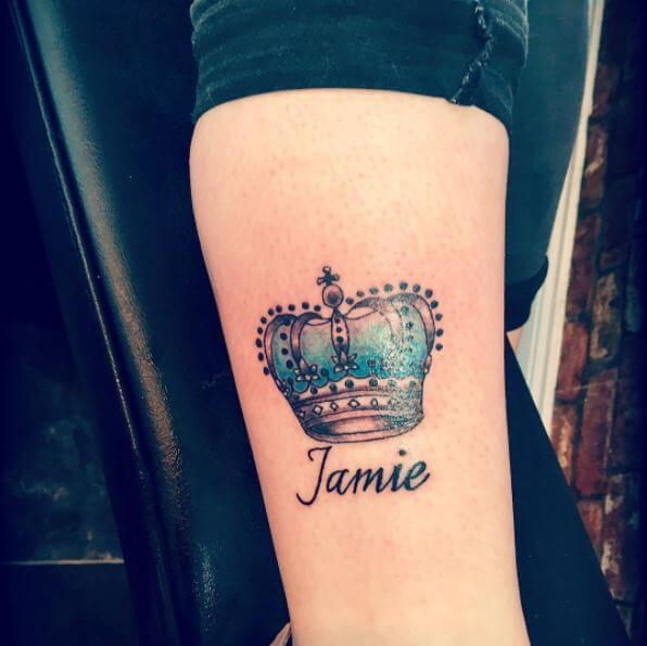 Jamie Queen Name And Crown Tattoo Design