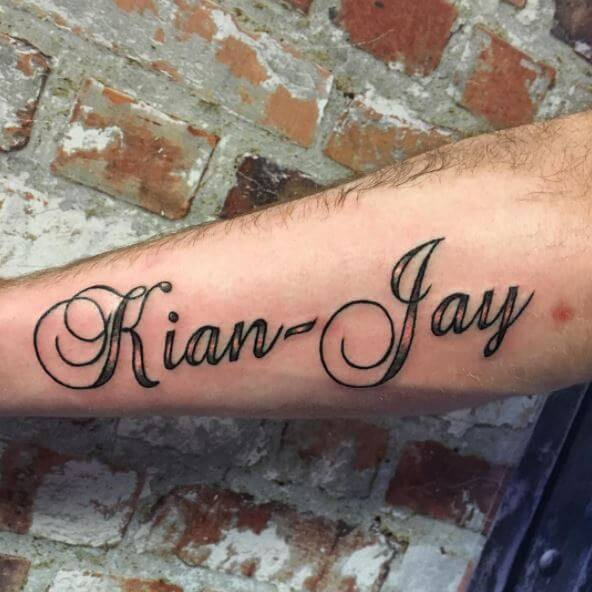 Kian And Jay Name Tattoo Design On Hand