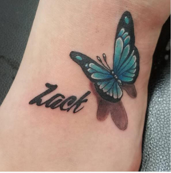 Luck Name With Butterfly Tattoo Design On Foot