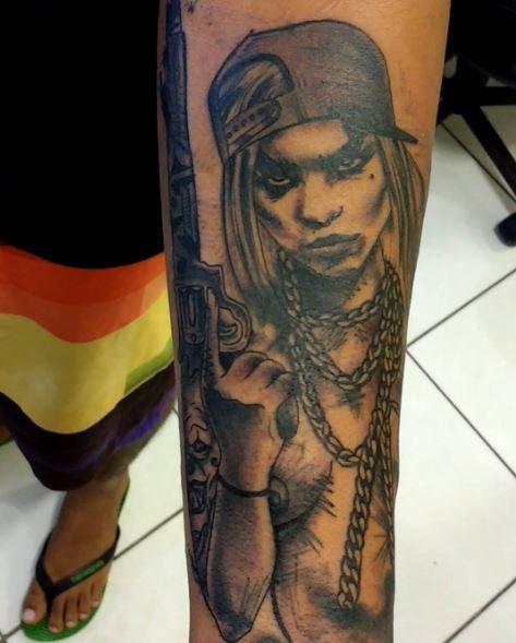 Mexican Gangsta Tattoos Design On Arms