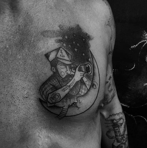 Moon Tattoo On Chest 2