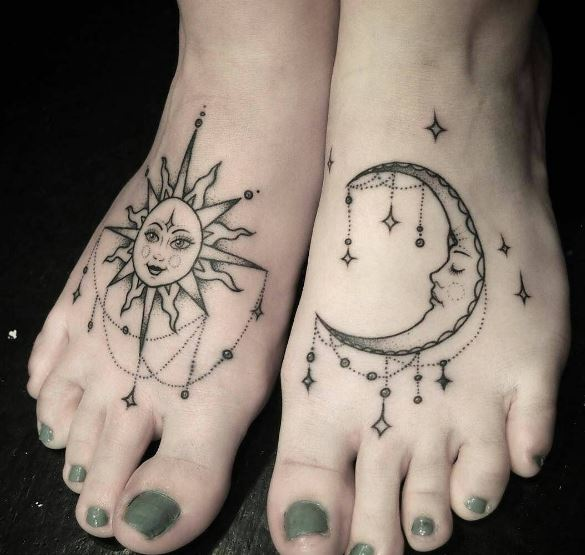 Moon Tattoo On Feet