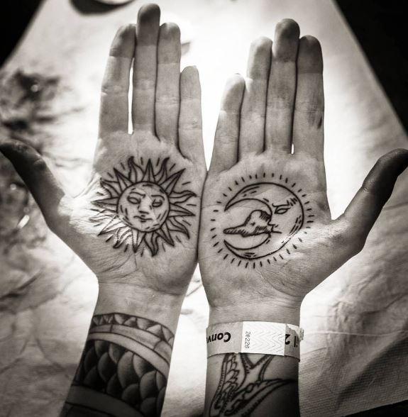 Moon Tattoo On Hands